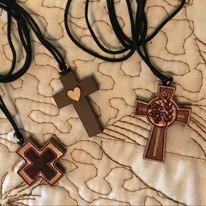 Lot of 3 Wooden cross pendants